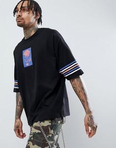 Оversize-футболка с принтом розы и полосками на рукавах ASOS DESIGN - Черный