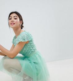 Платье миди 2 в 1 с цветочной аппликацией Chi Chi London Petite - Зеленый