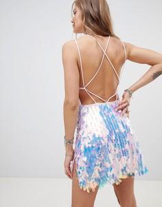 Платье мини с разрезами и пайетками Motel - Розовый