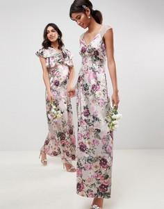 Платье макси с цветочным принтом и кружевными вставками ASOS DESIGN Bridesmaid - Мульти