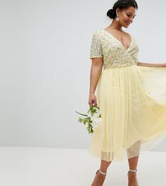 Платье миди с короткими рукавами и пайетками Maya Plus - Желтый