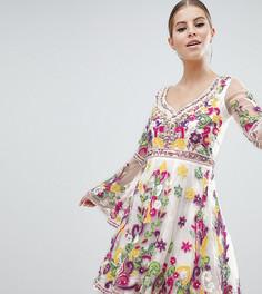 Короткое приталенное платье с расклешенными рукавами и разноцветной отделкой A Star is Born - Мульти