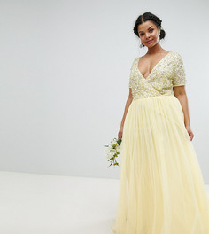 Платье макси с короткими рукавами и пайетками Maya Plus - Желтый