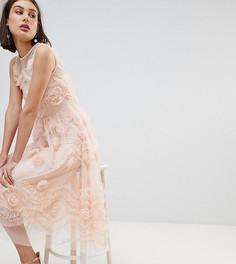 Платье миди из тюля с 3D отделкой Lace & Beads - Розовый