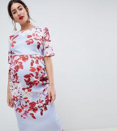 Платье миди с рукавами клеш True Violet Maternity - Мульти