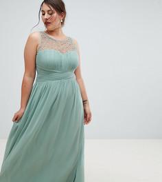 Декорированное платье макси Little Mistress plus - Зеленый