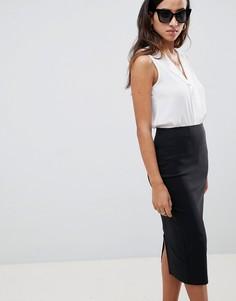 Удлиненная юбка-карандаш с завышенной талией ASOS DESIGN - Черный