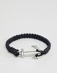Черный браслет с якорем ASOS DESIGN - Черный