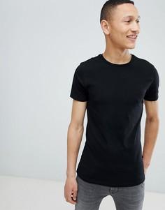 Черная облегающая футболка Burton Menswear - Черный