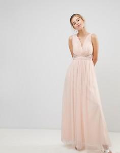 Платье макси с V-образным вырезом Little Mistress - Бежевый