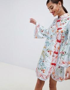 Платье мини с вышивкой ASOS DESIGN - Мульти