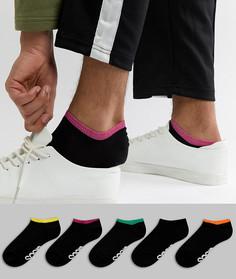 5 пар черных спортивных носков с контрастной отделкой и логотипом на подошве ASOS DESIGN - Мульти