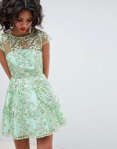 Короткое приталенное платье с пайетками и вышивкой ASOS EDITION - Зеленый