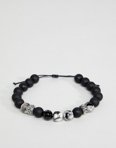 Черный браслет с бусинами и полудрагоценными камнями ASOS DESIGN - Черный