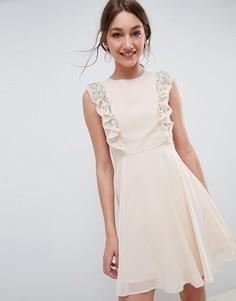 Короткое приталенное платье с оборками на рукавах ASOS DESIGN - Розовый