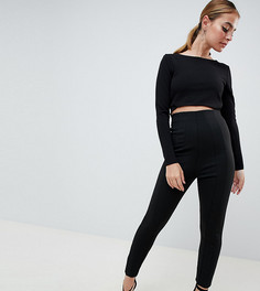 Облегающие брюки с завышенной талией ASOS DESIGN Petite - Черный