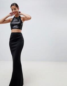 Платье макси с пайетками на лифе ASOS DESIGN - Черный