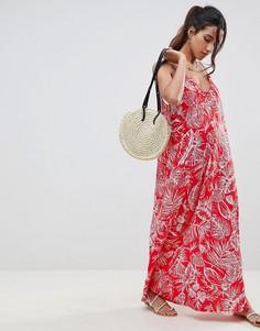 Присборенное платье макси с пальмовым принтом ASOS DESIGN - Мульти