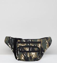 Фестивальная сумка-кошелек на пояс с камуфляжным принтом Reclaimed Vintage Inspired - Зеленый