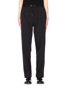Черные шерстяные брюки с вышивкой Vetements