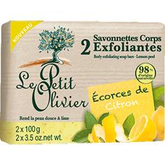 LE PETIT OLIVIER Мыло для тела отшелушивающее с перемолотой цедрой лимона 2х100 г
