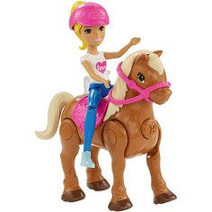 """Игровой набор с мини-куклой Barbie """"В движении"""" Пони и кукла в розовом шлеме Mattel"""