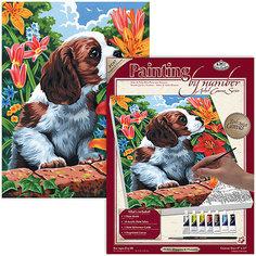"""Картина по номерам на холсте Royal&Langnickel """"Щенок и лилии"""", 22х30 см Royal&Langnickel"""