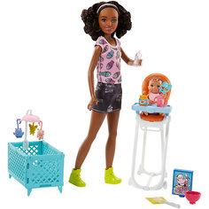 """Игровой набор с куклой Barbie """"Няня"""" Стульчик и колыбель, темнокожая барби Mattel"""