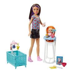 """Игровой набор с куклой Barbie """"Няня"""" Стульчик и колыбель, барби шатенка Mattel"""