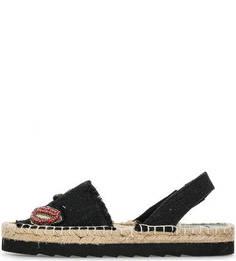 Черные текстильные сандалии на плетеной подошве Colors of California