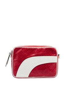 Красная кожаная сумка с перфорацией Leisured