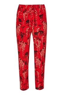 Красные брюки с принтом RED Valentino