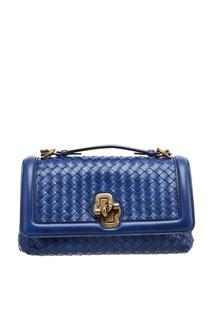 Синяя плетеная сумка Bottega Veneta