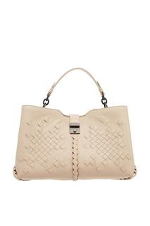 Бежевая сумка с плетеной отделкой Bottega Veneta
