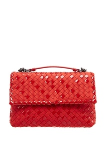 Красный плетеный клатч Bottega Veneta
