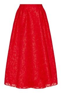 Красная юбка с ажурным верхом Rochas