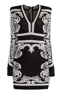 Платье-футляр из джерси с узорами Balmain