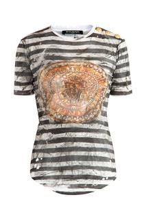 Хлопковая футболка с состаренным принтом Balmain