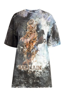 Хлопковая футболка с коллажным принтом Balmain