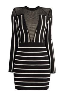 Черное платье-футляр из джерси в полоску Balmain