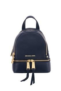 Синий кожаный рюкзак Rhea Zip Michael Kors