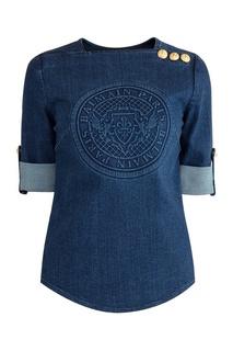 Блузка из синего денима Balmain