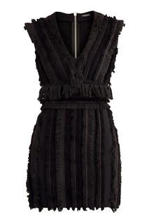Черное хлопковое платье с бахромой Balmain