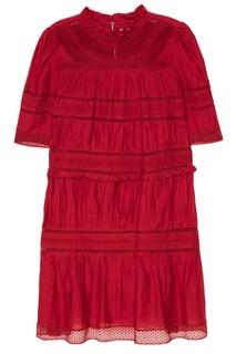 Красное хлопковое платье с драпировками Isabel Marant Etoile