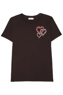 Черная футболка с цветочной вышивкой Sandro