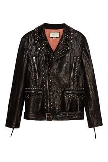 Черная кожаная куртка с принтом на спине Gucci