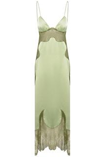 Зеленое атласное платье с кружевом Off White