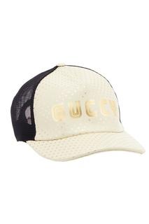 Белая кожаная кепка со звездами Gucci