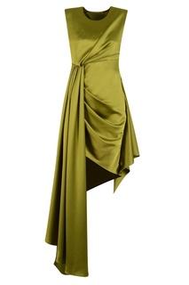 Зеленое атласное платье с драпировками Off White