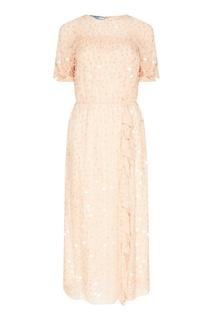Шелковое платье с пайетками Prada